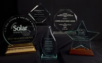 Photo of awards received by the Florida Solar Energy Center.